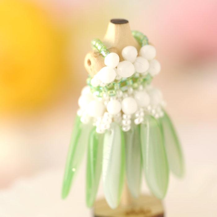 ビーズステッチで作るハニカムトルソードレス〜ティアレ・グリーン〜  【作家:漆原昌美(Mai My Beads)】