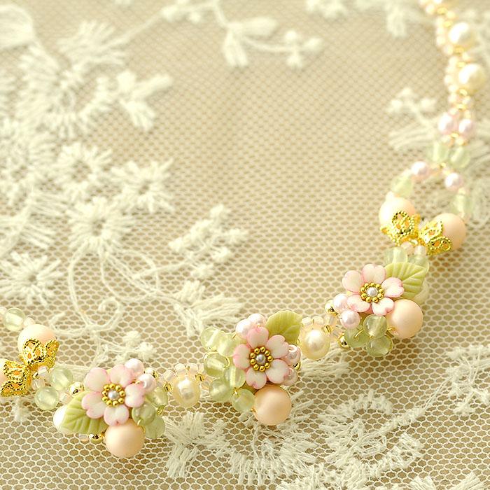 桜草とパールの春色ネックレス 【作家:NARUMIDO】