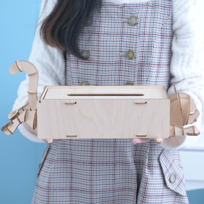 立体パズル 木製 ki-gu-mi Living ネコ ティッシュケース