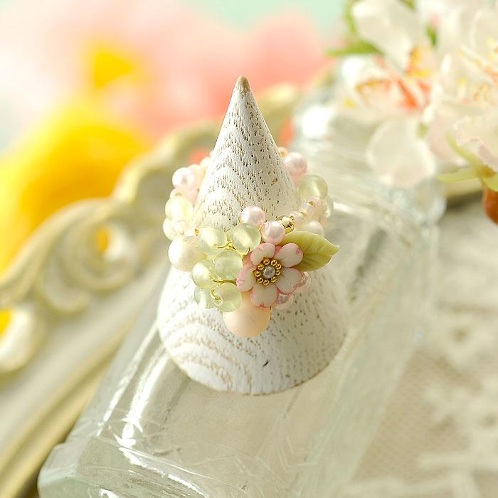 桜草とパールの春色リング 【作家:NARUMIDO】