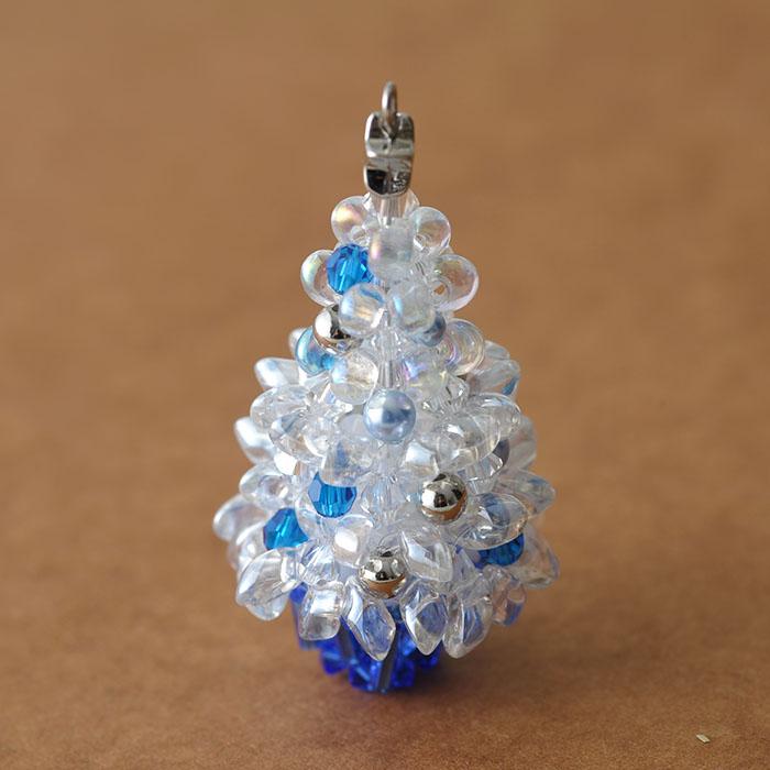 ぷっくりガラスのクリスマスツリー ホワイト 【作家:ちばのぶよ】