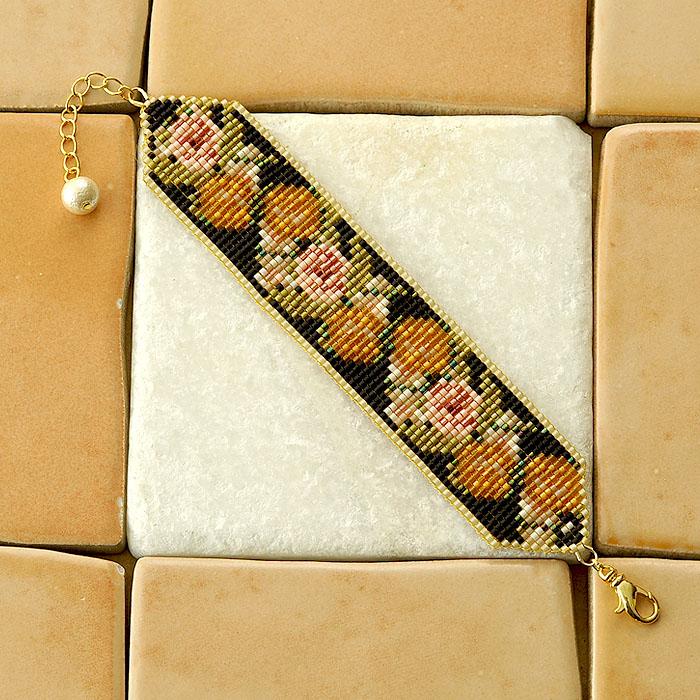 ビーズファクトリー 増やし目減らし目が学べる デリカビーズ織りアクセサリーキット〜ジャルダンローズ・ブレスレット(ゴールド)〜  BKF-500