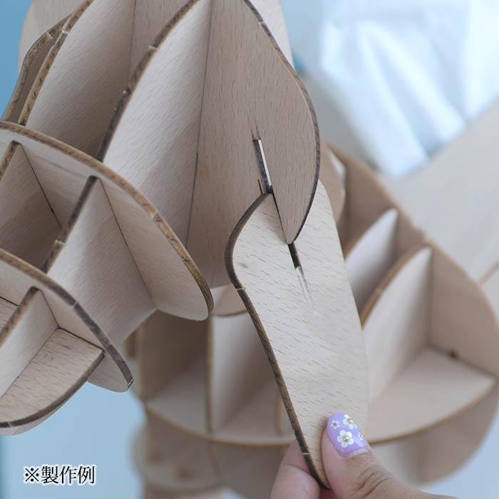 立体パズル 大人 工作 キット Wooden Art ki-gu-mi Living キリン 収納付きスツール