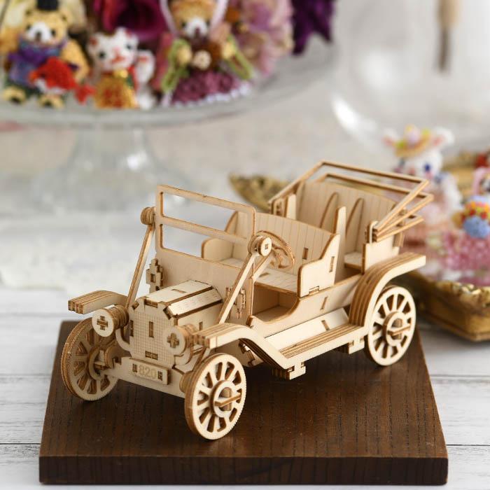 立体パズル 木製 ki-gu-mi クラシックカー スマホスタンド