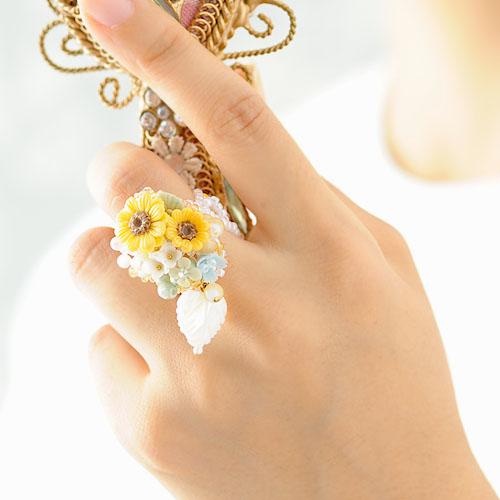 お花たっぷり 向日葵リング 【作家:NARUMIDO】