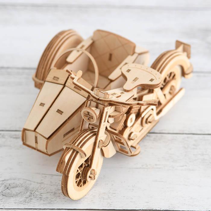 立体パズル 大人 工作 キット Wooden Art ki-gu-mi クラシックサイドカー