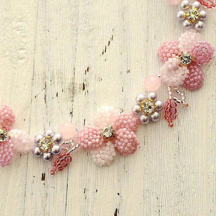 すみれのネックレス(ピンク)  N-140a 【作家:Shinon あわいしのぶ】