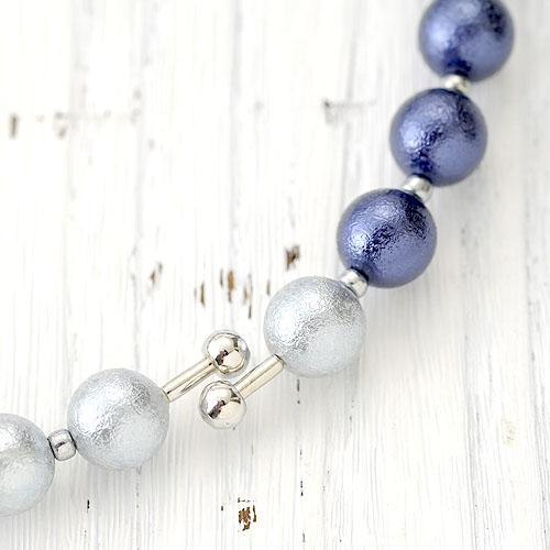 TOHO ≪フェミニックス≫花編みボールのリングネックレス(ブルー) FEM-2