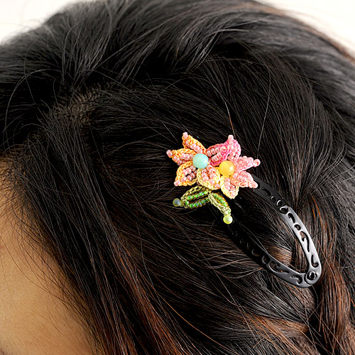 お花ヘアピン ピンク  p18600 【作家:芝裕子(Atelier Siva)】