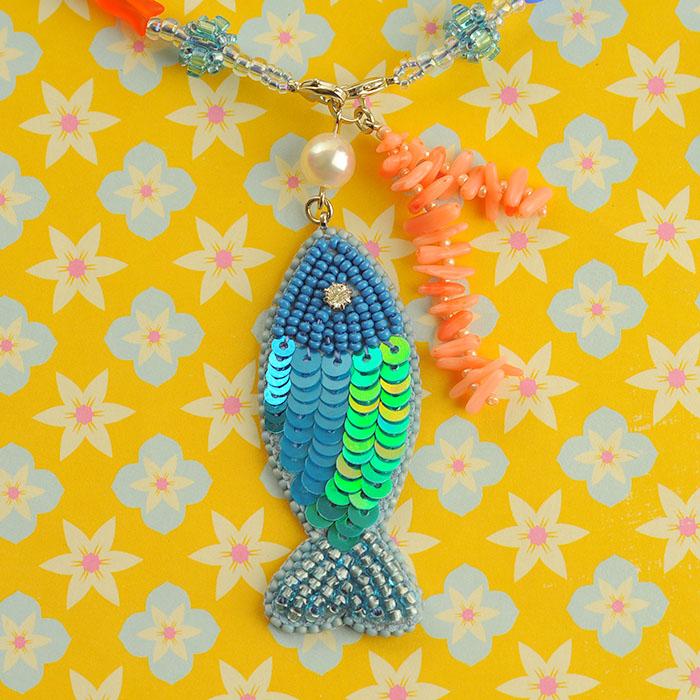 """Fish!Fish!Fish!  【ビーズ 刺繍】 【作家:しのはらみわ(Little""""B"""".)】"""
