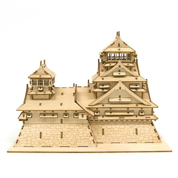 立体パズル 木製 ki-gu-mi 熊本城(くまモンのプレート付)