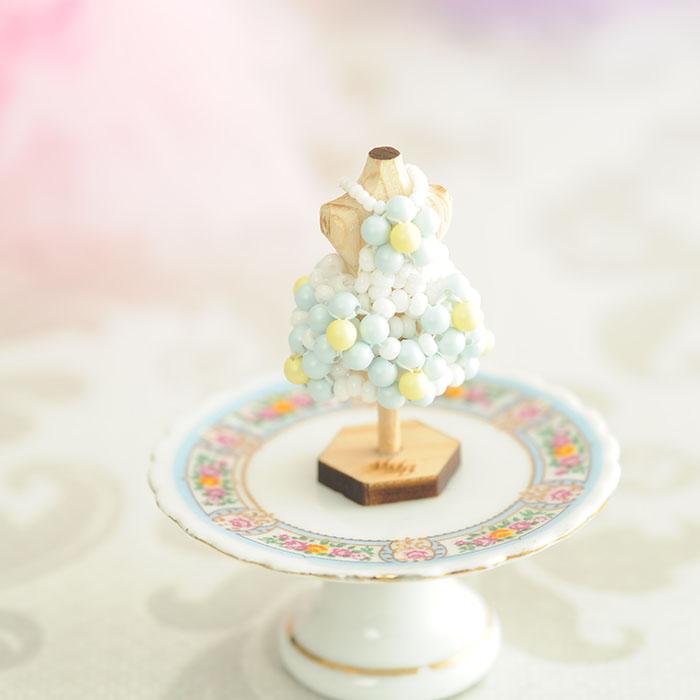 ☆5/26 再入荷☆ ビーズステッチで作るハニカムトルソードレス〜ソフィア・アイスブルー〜  【作家:漆原昌美(Mai My Beads)】