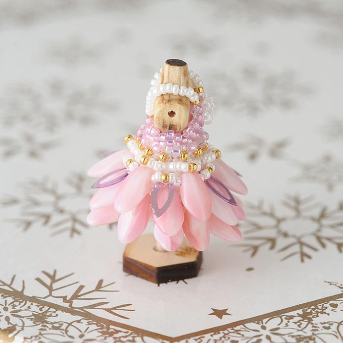 ビーズステッチで作るハニカムトルソードレス〜ステイシー・ピンク〜  【作家:漆原昌美(Mai My Beads)】
