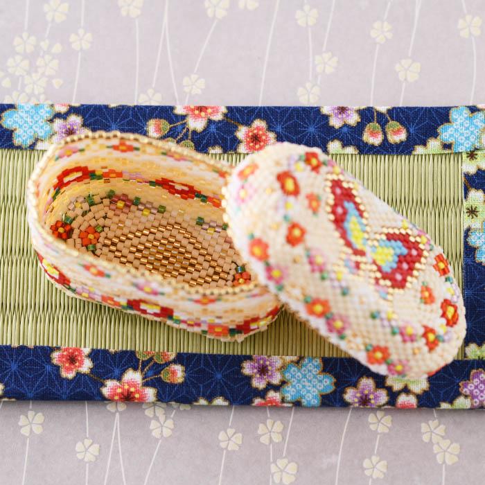 ★12/16 NEW★ ステッチボックス〜椿と蝶〜  ビーズマニア