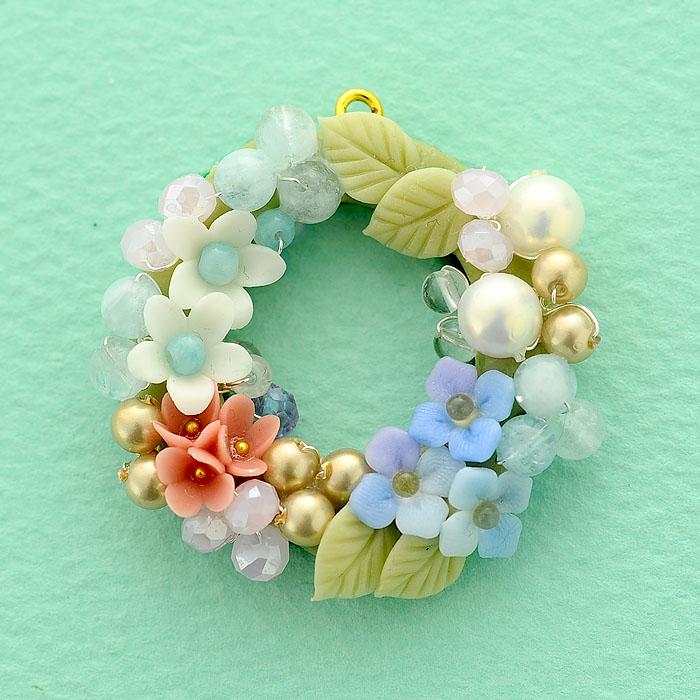 紫陽花と小花のリース  【作家:NARUMIDO】