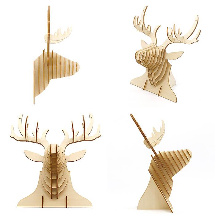 立体パズル 木製 ki-gu-mi 鹿の壁飾り
