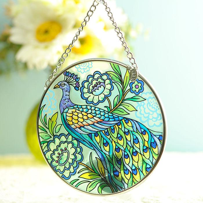 ステンドグラス サンキャッチャー おしゃれ 壁掛け True colors peacock 41919MC
