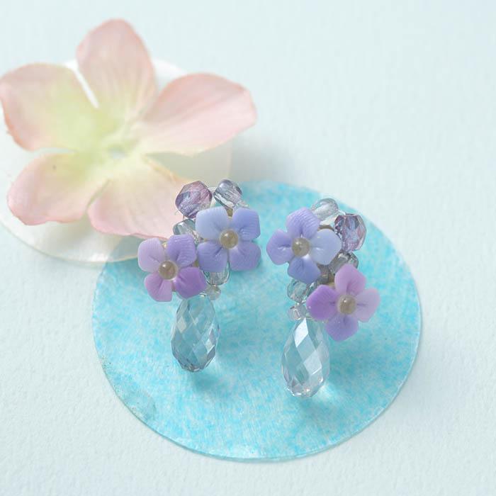 ☆6/29 再入荷☆ 紫陽花のドロップピアスorイヤリング f163c 【作家:NARUMIDO】