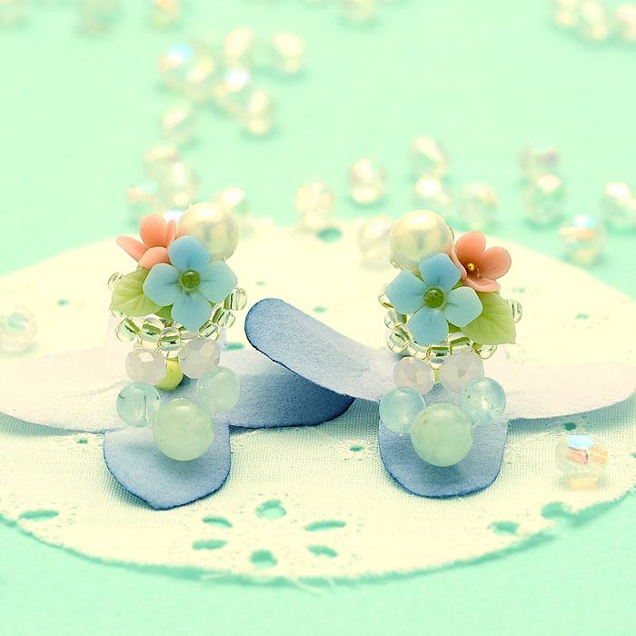 紫陽花ブーケとアクアマリンのピアスorイヤリング 【作家:NARUMIDO】