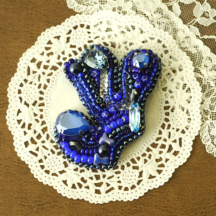 フルール藍  【ビーズ 刺繍】 【作家:有井順子】