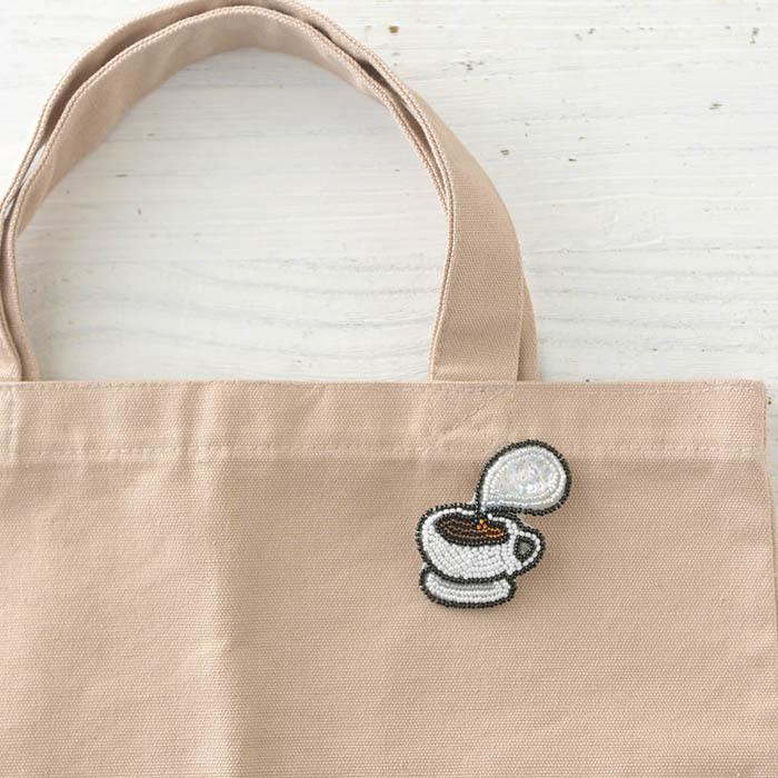 ビーズファクトリー ビーズ刺しゅうブローチキット ほっと コーヒー BK-577 【ビーズ 刺繍】
