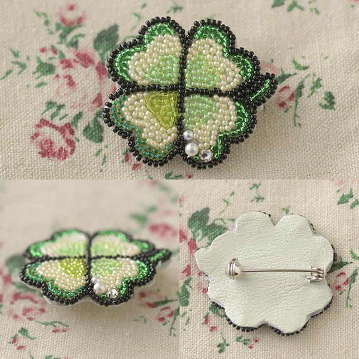 ビーズファクトリー ビーズ刺しゅうブローチキット ラッキークローバー BK-578 【ビーズ 刺繍】