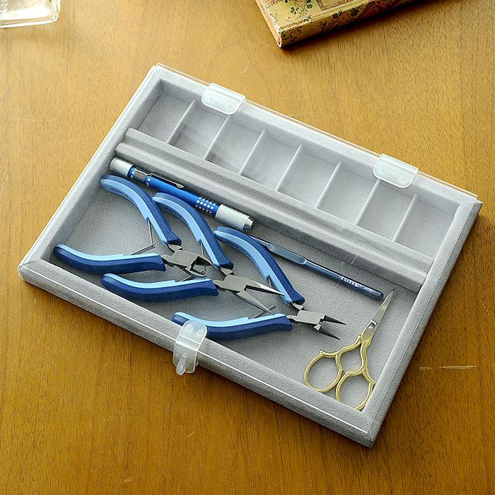 ビーズ作業トレイ(アクリル蓋付き)グレー 9506