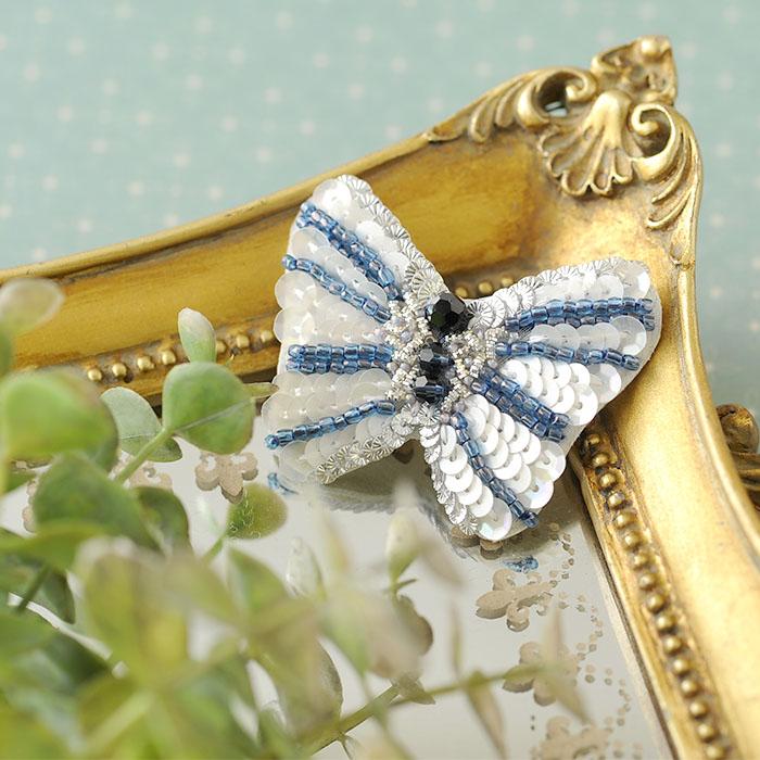 ビーズファクトリー オートクチュールビーズ刺繍キット バタフライブローチ  HCK-006