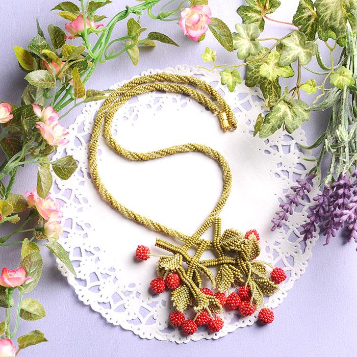 ☆2/4 再入荷☆ cherry necklace(レッド)  【作家:荒木晴美(atelier embellir)】