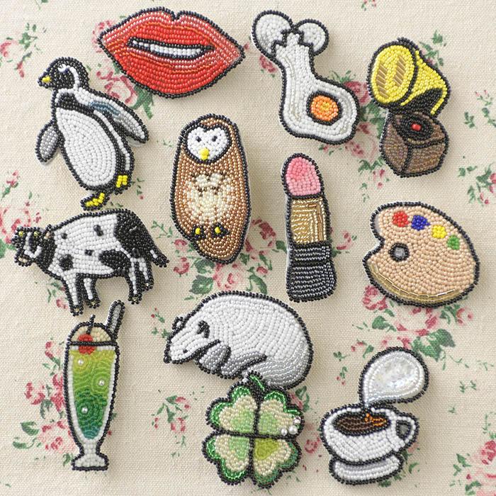 ビーズファクトリー ビーズ刺しゅうブローチキット 新鮮たまご  BK-581 【ビーズ 刺繍】