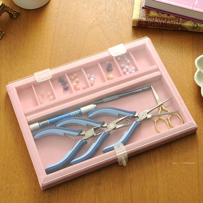 ビーズ作業トレイ(アクリル蓋付き)ピンク