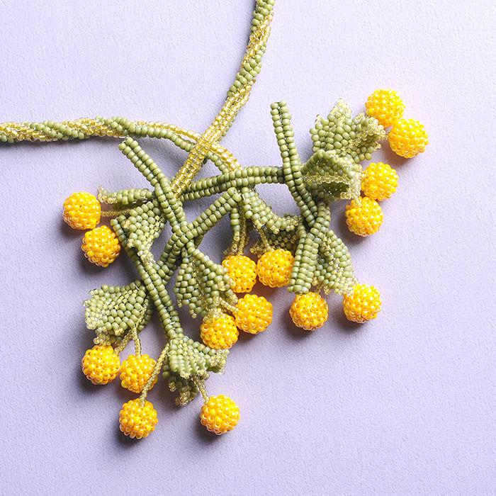 ☆8/26 再入荷☆ cherry necklace(イエロー)  【作家:荒木晴美(atelier embellir)】