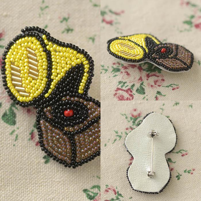 ビーズファクトリー ビーズ刺しゅうブローチキット レトロ蓄音機  BK-584 【ビーズ 刺繍】