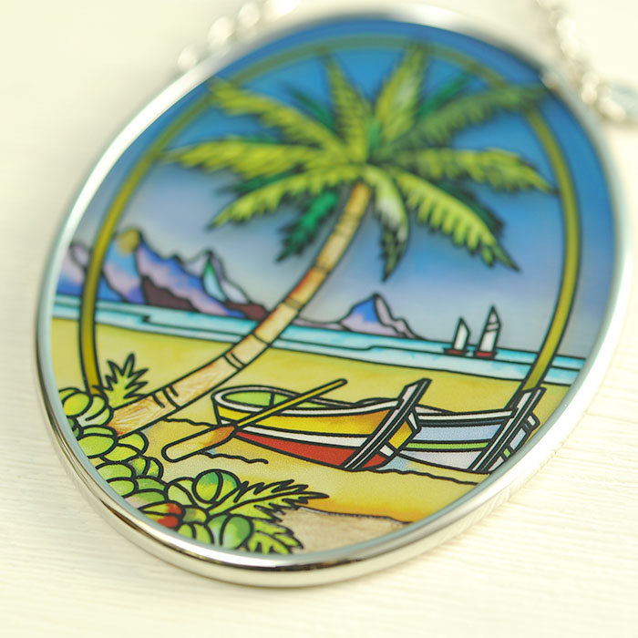 ステンドグラス サンキャッチャー おしゃれ 壁掛け Tropical Palm  7765SO