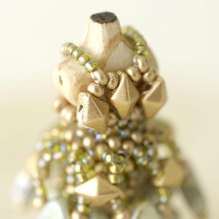 ☆3/22 再入荷☆ ビーズステッチで作るハニカムトルソードレス〜リアーナ・グリーン〜  【作家:漆原昌美(Mai My Beads)】
