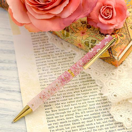 ローズピンクのフラワーペン  ビーズマニア