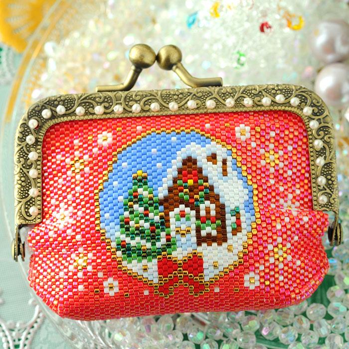 がま口ポーチ〜Merry Christmas〜  ビーズマニア