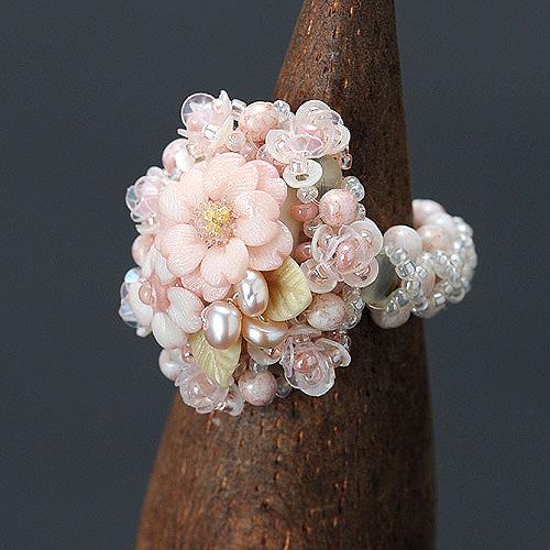 八重桜カボションのリング  【作家:NARUMIDO】
