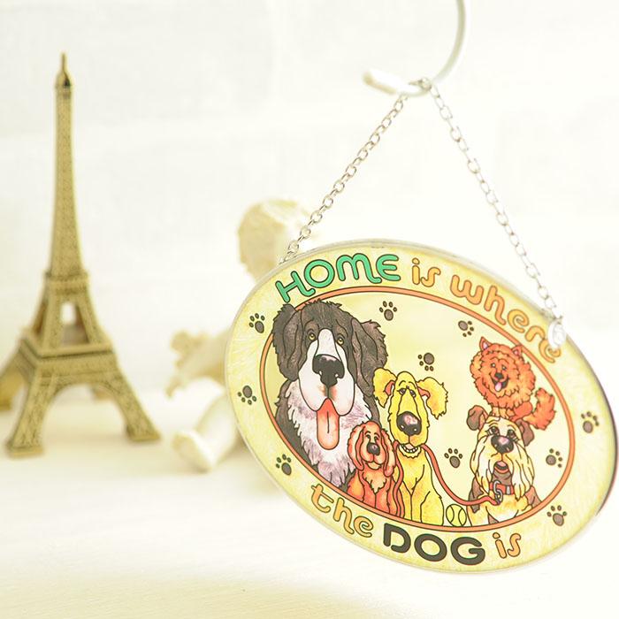 ステンドグラス サンキャッチャー おしゃれ 壁掛け Home is Where the Dog is  6242MO