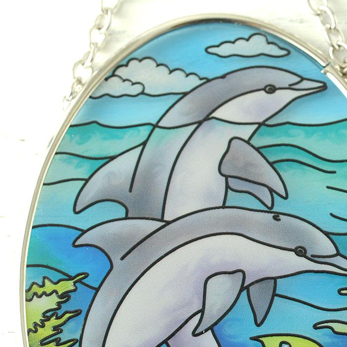 ステンドグラス サンキャッチャー おしゃれ 壁掛け Dolphin Reef  7738SO