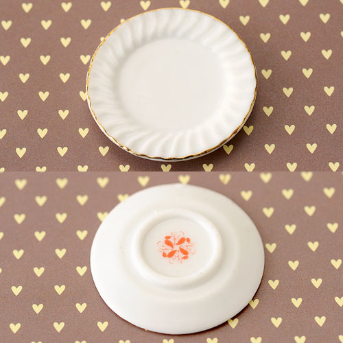 オリジナル ガトー専用 金縁フリル皿 4cm(ポーセリン)10枚セット