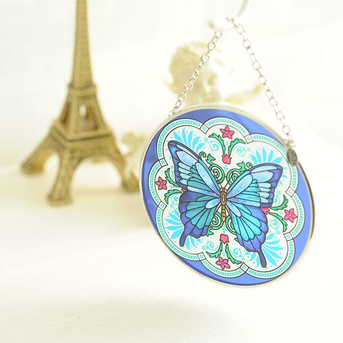 ステンドグラス サンキャッチャー おしゃれ 壁掛け Fritilary Flourish Butterfly  42071MC