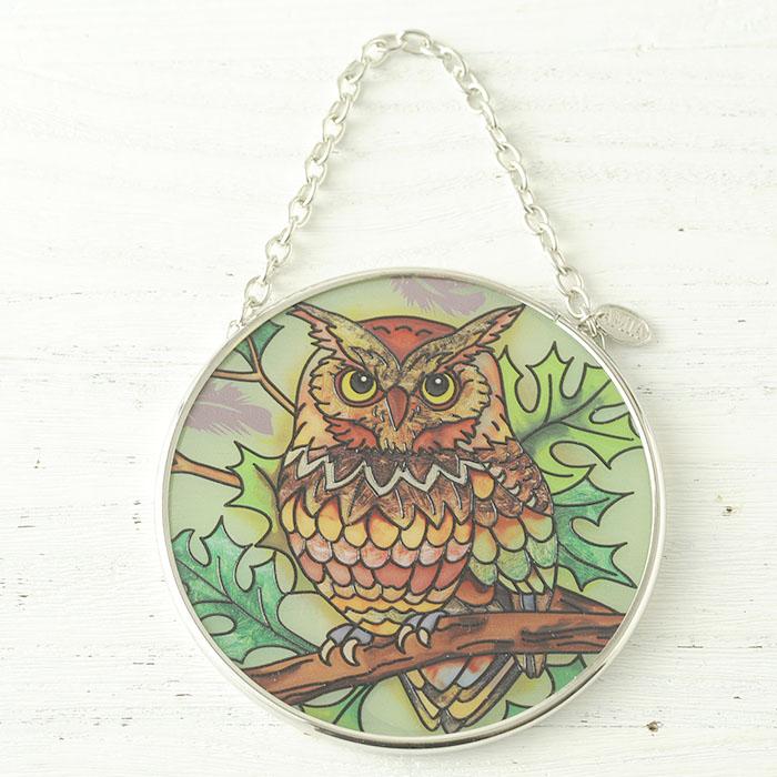 ステンドグラス サンキャッチャー おしゃれ 壁掛け Great Horned Earth Owl  42304SC