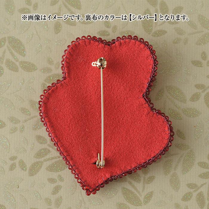 トリプルハートブローチ(赤)  OT-137 【ビーズ 刺繍】 【作家:新井桂子(Fairy-R)】