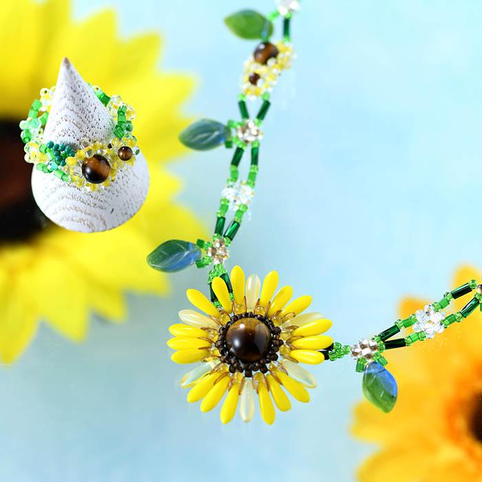 ☆8/6 再入荷☆ ひまわりネックレス  【作家:Miki Kanai(Beads mode C'est la vie)】