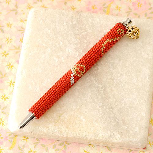 """Beaded pen〜のし&だるま〜(赤)  【作家:しのはらみわ(Little""""B"""".)】"""