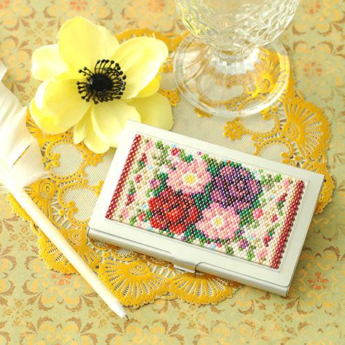 〜バラとガーベラ〜カードケース ビーズマニア