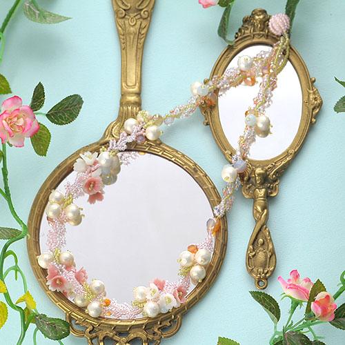 桜草とコットンパールのネックレス  【作家:NARUMIDO】
