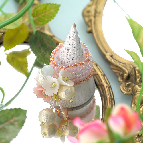 桜草とコットンパールのリング  【作家:NARUMIDO】