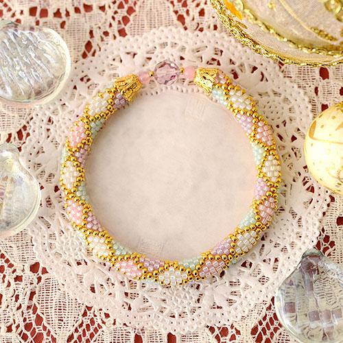 ダイヤ柄ブレスレット カラー p18600 【作家:芝裕子(Atelier Siva)】